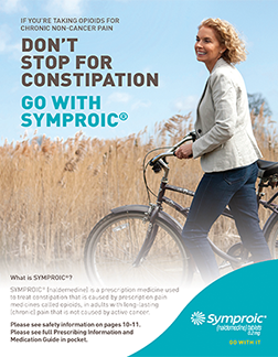 Cover of Symproic patient brochure which features a woman and her bicycle